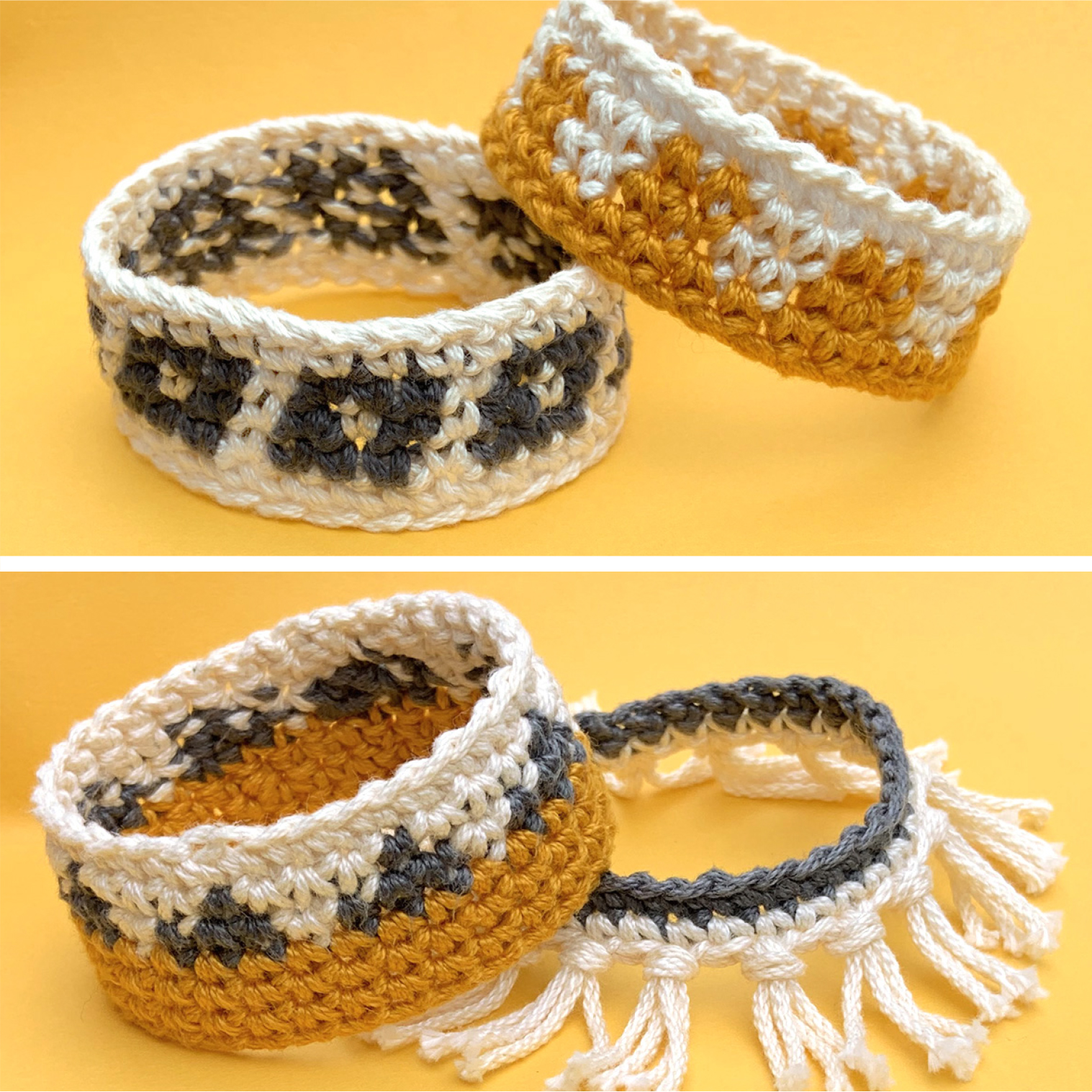 Crochet jewelry set of four crocheted bracelets