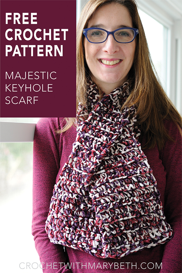 Get out the velvet yarn because here is a free crochet scarf pattern for you.    The Majestic Keyhole Scarf is designed to be worn inside or outside.  It looks great over a shirt or jacket. And for those weird super cold days in spring it lays nice and flat under a winter coat.    #freecrochetpattern #crochetscarf #velvetyarn