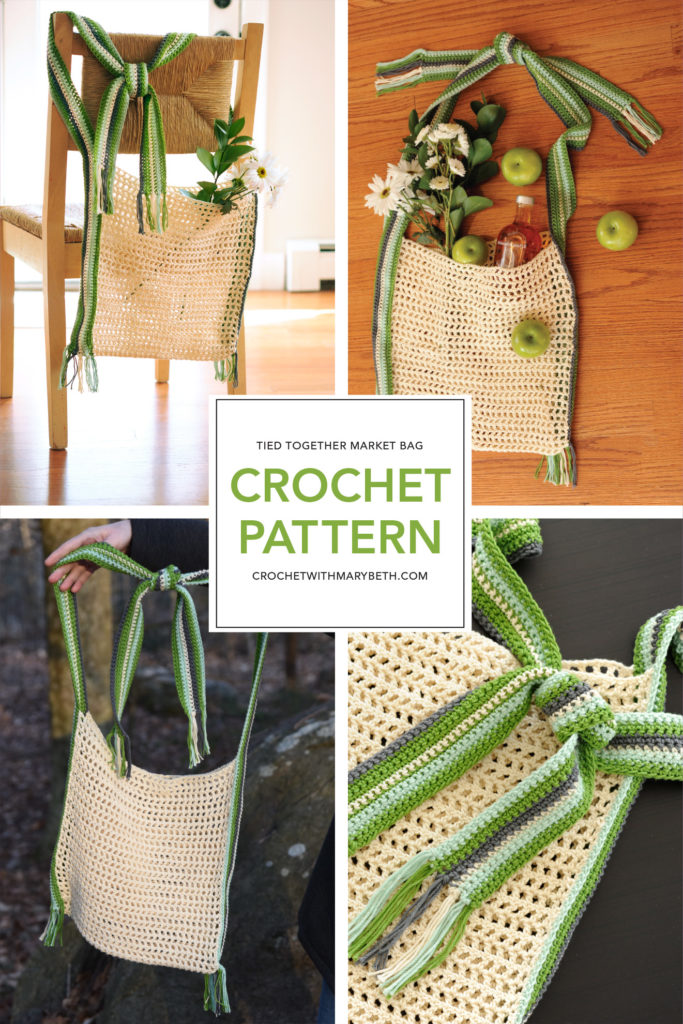 "Need a fresh new market bag? The free crochet pattern, Tied Together Market Bag by Crochet with Mary Beth will definitely get you some compliments down at the farmers market. You're going to love making this easy, sturdy, adjustable, large (14.5"" x 13.5"") tote. Make yourself one! You deserve it. Check out the pattern, illustrated instructions, and lots of artistic pictures of this unique bag on Crochet with Mary Beth."