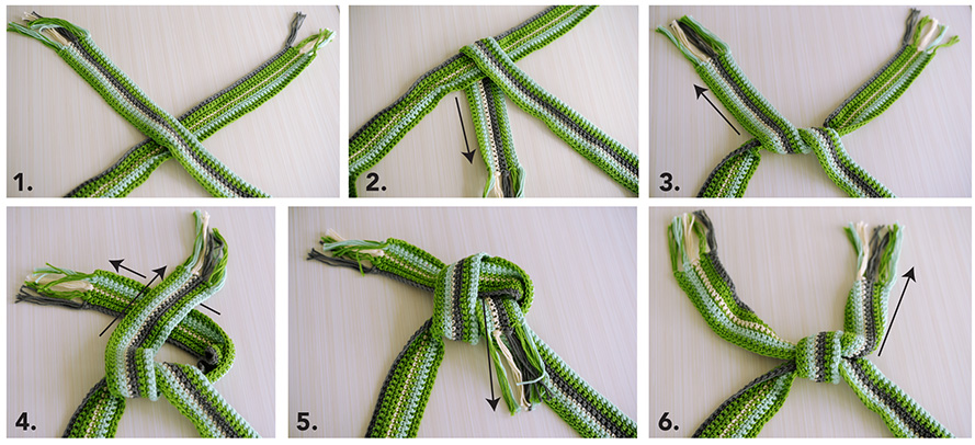 How to tie a square knot from Crochet with Mary Beth
