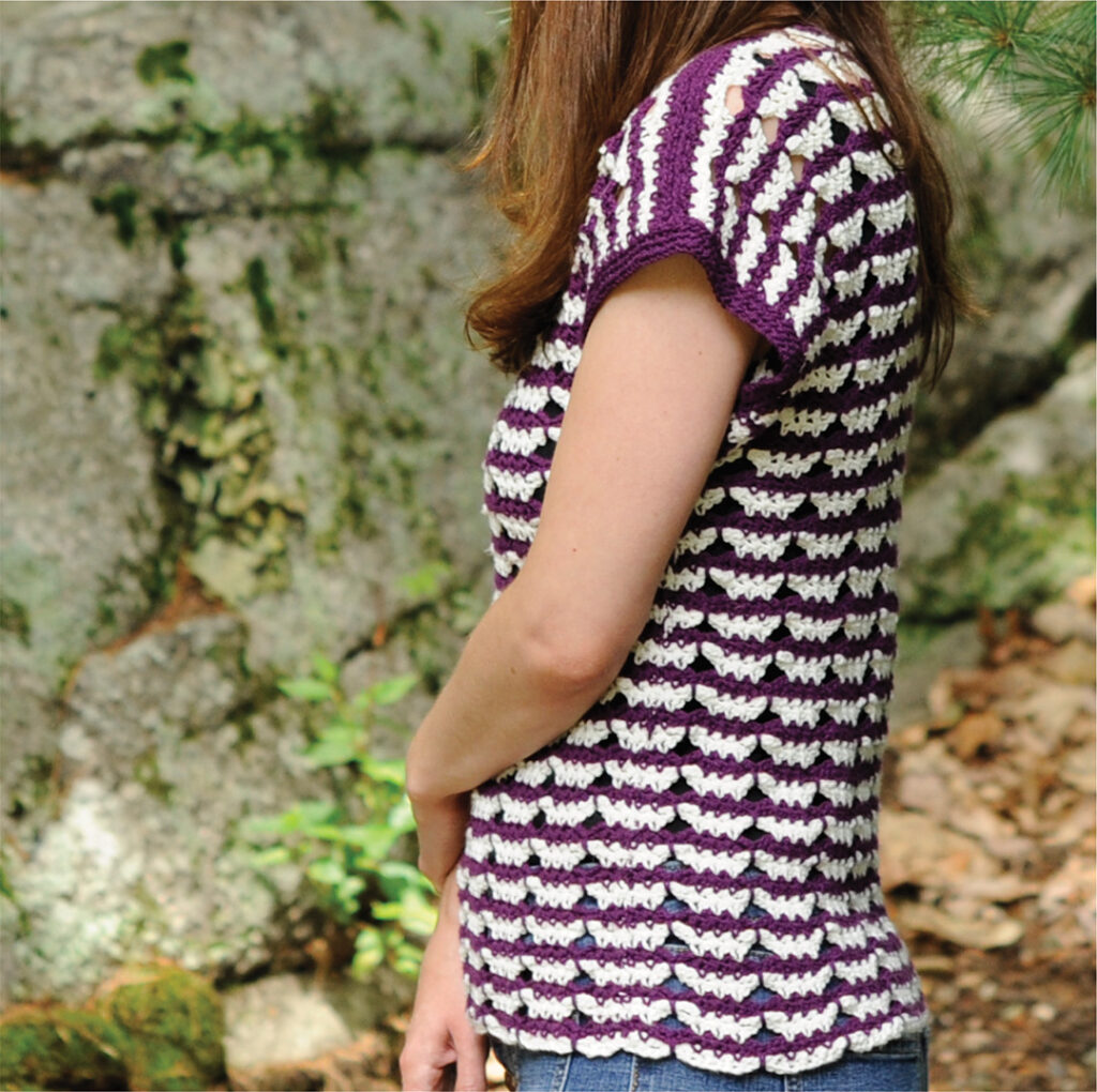 Here you can see the Butterfly Stripe Tee from the side.  This pattern from Crochet with Mary Beth is fun, quick, and stylish. Click through to see more pictures and a description on the blog.
