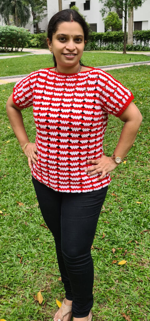 Butterfly Striped Tee by tester Srujana Yenugula.  Click through to find out more about this fun crochet pattern.