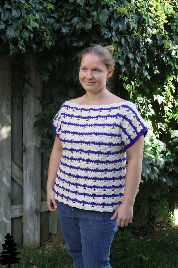 Butterfly Striped Tee by tester Pine Tree Crochet.  Click through to find out more about this fun crochet pattern.