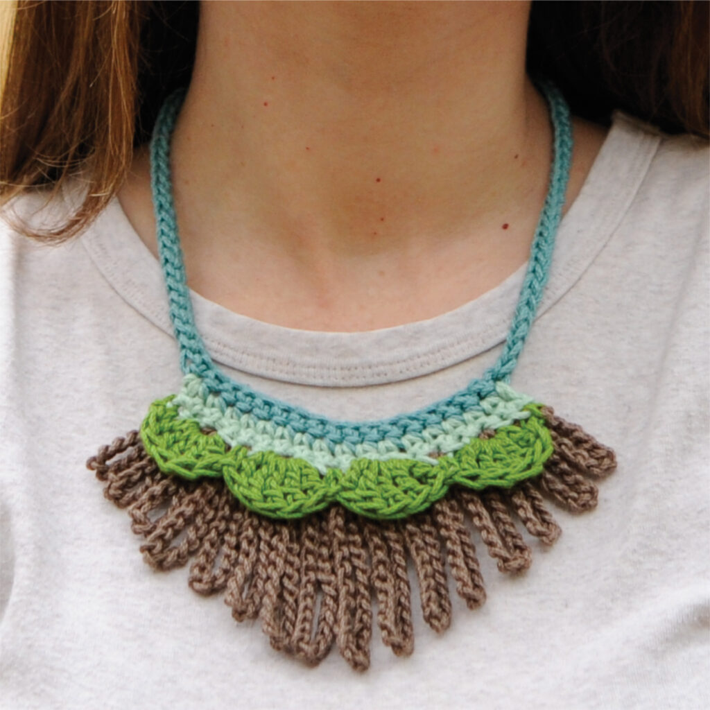 "Close-up of the Loopy Worsted Necklace.  A quick crochet pattern that will fit easily into your limited ""me time."""
