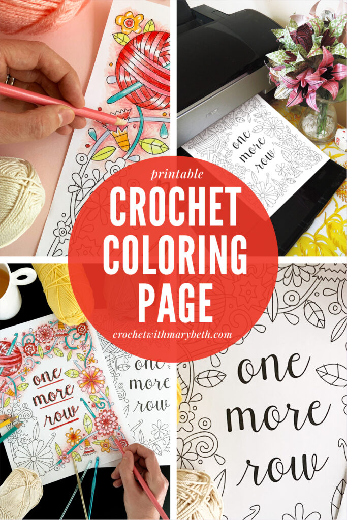 "Do you enjoy both coloring and crocheting?  Have you ever combined the two together?  This pretty crochet adult coloring page by Crochet with Mary Beth features crochet tools, yarn, flowers, and a crochet sentiment to color and enjoy.  Two sizes are included in your purchase, 8.5"" x 11"" and A4.  Download and enjoy!  #crochetcoloringpage #crochetcoloringpage #adultcoloringpage"
