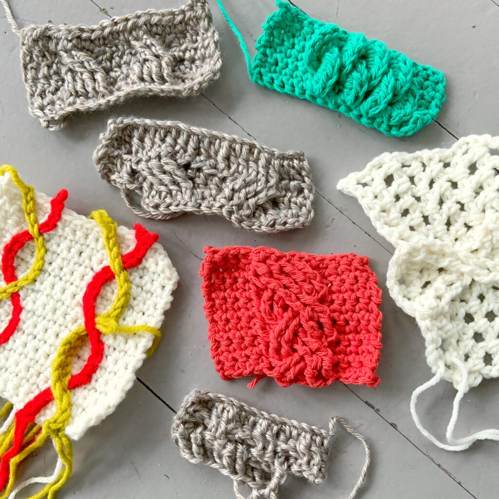 Samples from Robyn Chachula's Cables class at the crochet conference Stitches at Home
