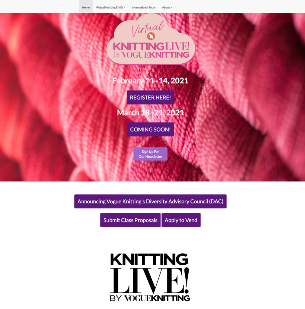 A screen shot of Vogue Knitting Lives! virtual sign up page.