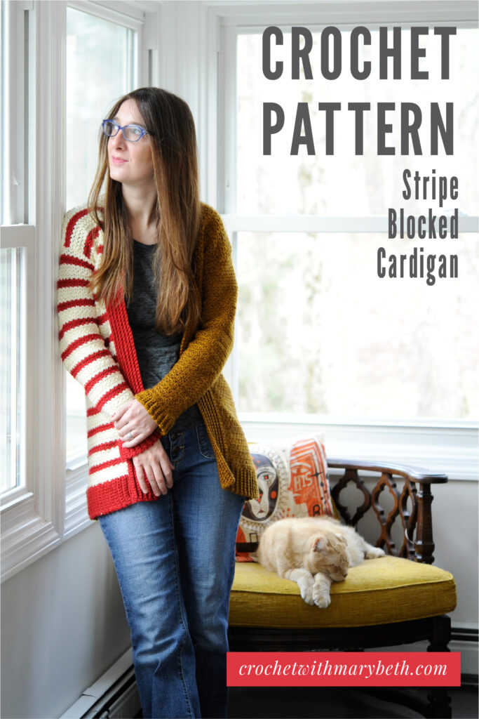 Are you looking for a unique eye catching cardigan to make and wear? Then let me introduce you to the Stripe Blocked Cardigan. It's designed by me, Mary Beth, the designer behind Crochet with Mary Beth. I've dedicated my crochet design career to making crochet clothing and accessory patterns you've never seen before that will inspire you and get you compliments from strangers. The pattern comes in sizes XS - 5X and is made with worsted weight yarn. Click through to buy the pattern.