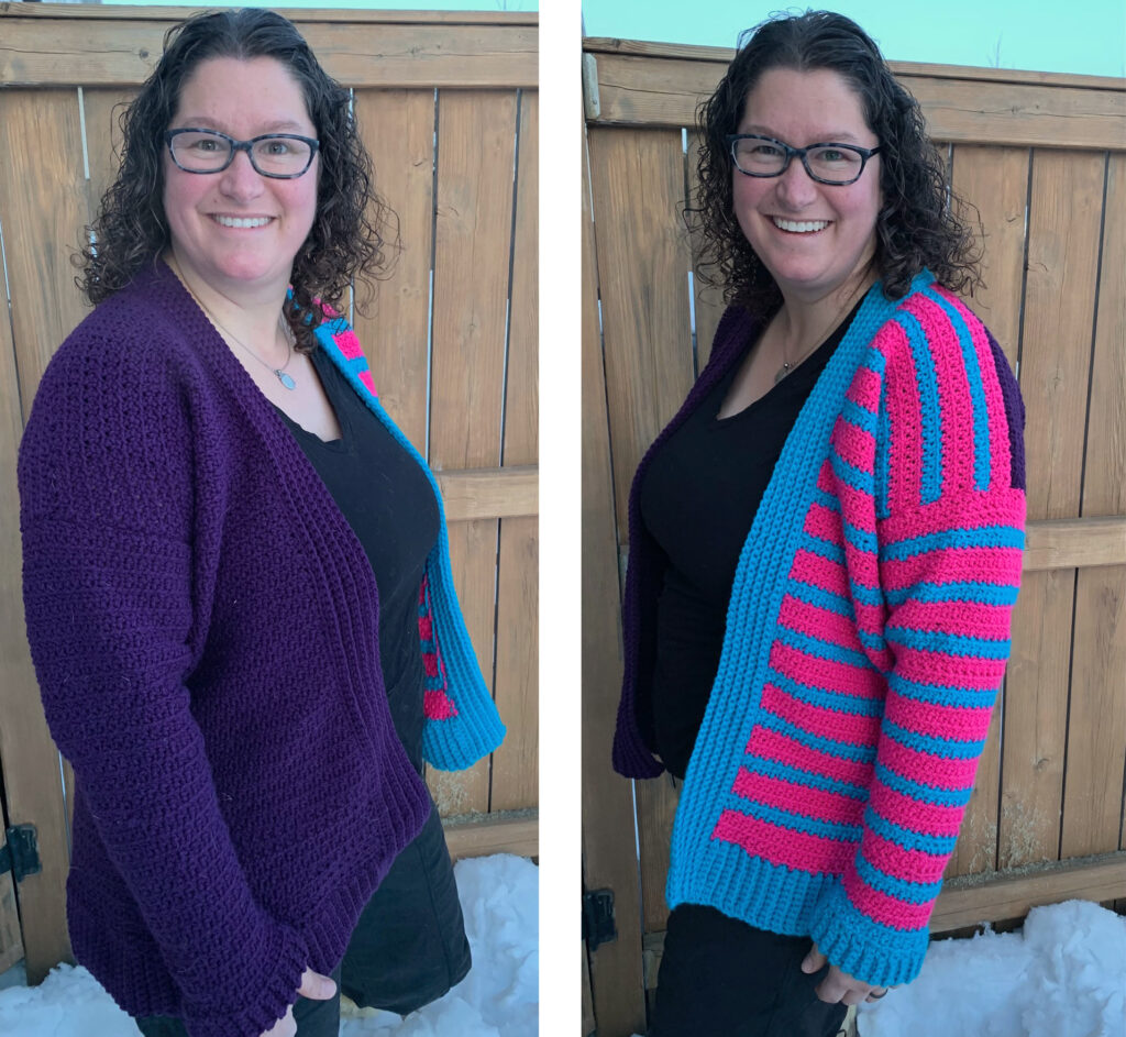 A bright version of the crochet cardigan pattern.