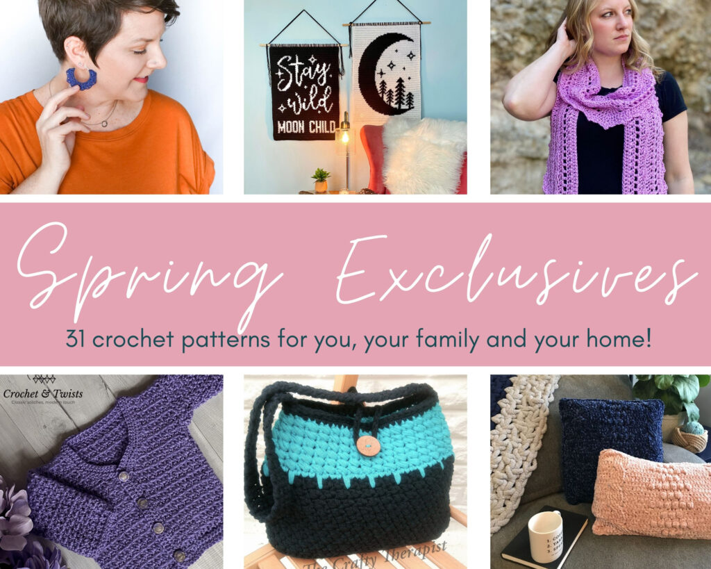 The Spring Exclusives Collection is a 31 pattern bundle curated by Cosy Rosie UK featuring designers from the Crochet Business Academy.