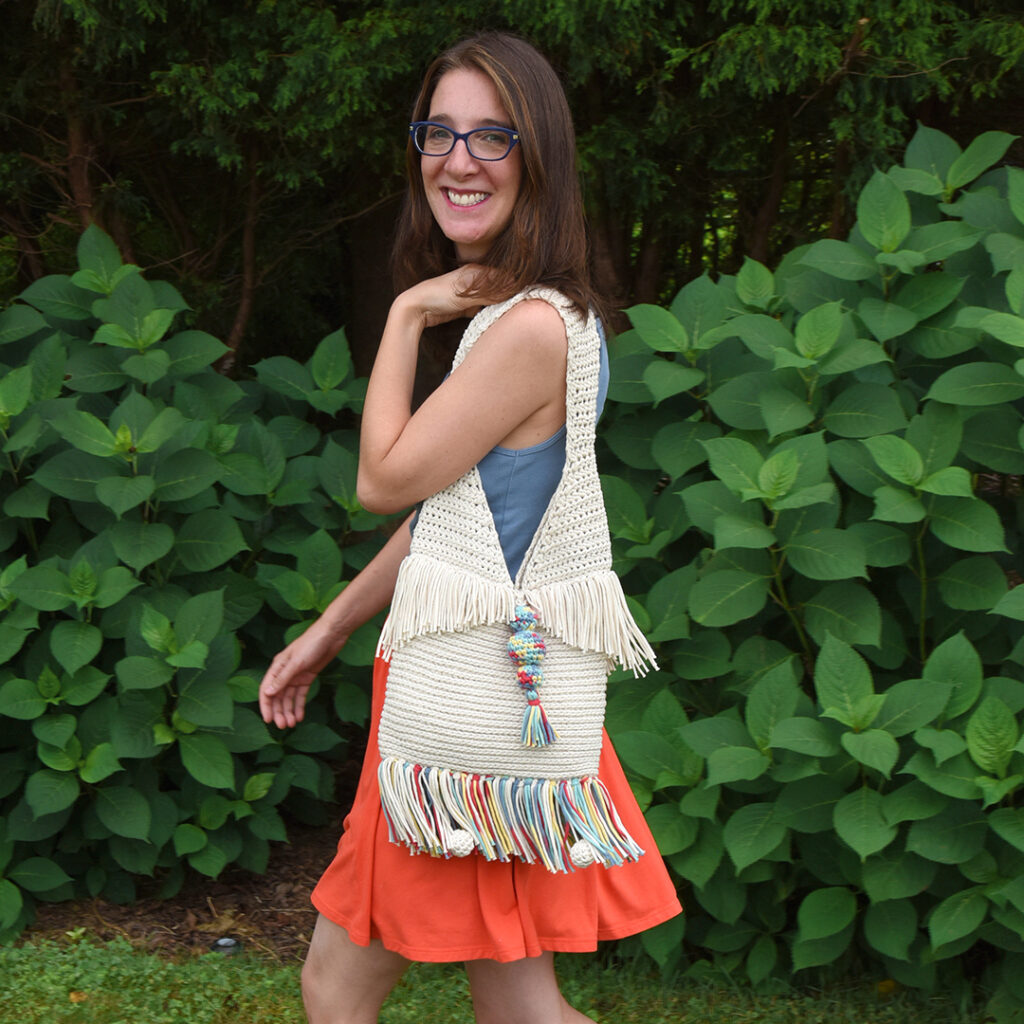 Mary Beth Cryan from Crochet with Mary Beth modeling her Super Sunny Crochet Tote pattern.