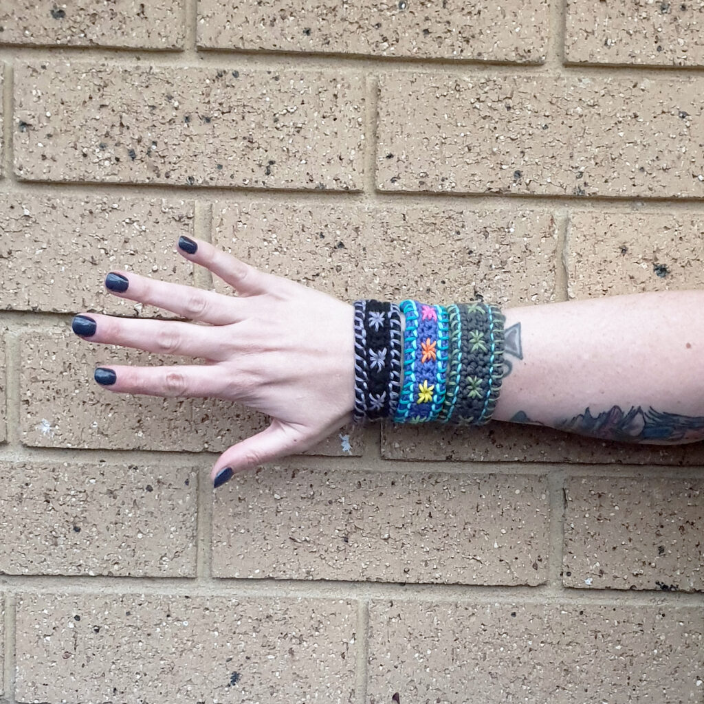 Three really cool examples of the Star Studded Crochet Bracelet.  You can make one in less than 2 hours.  Click through to learn how.