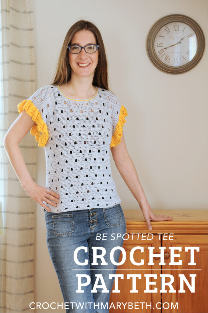 Continue to have fun crocheting during the warm weather without the discomfort of working on large bulky projects with hot yarn.  The Be Spotted Tee is a unique crochet tee that is perfect for making, wearing, and collecting compliments this summer.