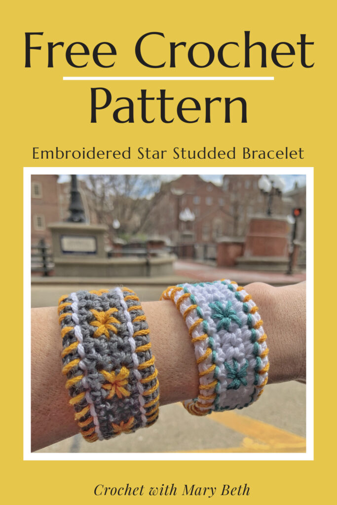 The latest crochet craze is embroidery on crochet! Want to learn? The Star Studded Bracelet pattern is for the crocheter who loves to learn new things but doesn't have time for a gigantic project. You will feel a sense of accomplishment when you learn this technique in less than 2 hours! The pattern includes written instructions, instructional illustrations, and a star stitch video tutorial. It's the perfect quick gift & scrap project (only 25 yards). Click through for the free pattern.