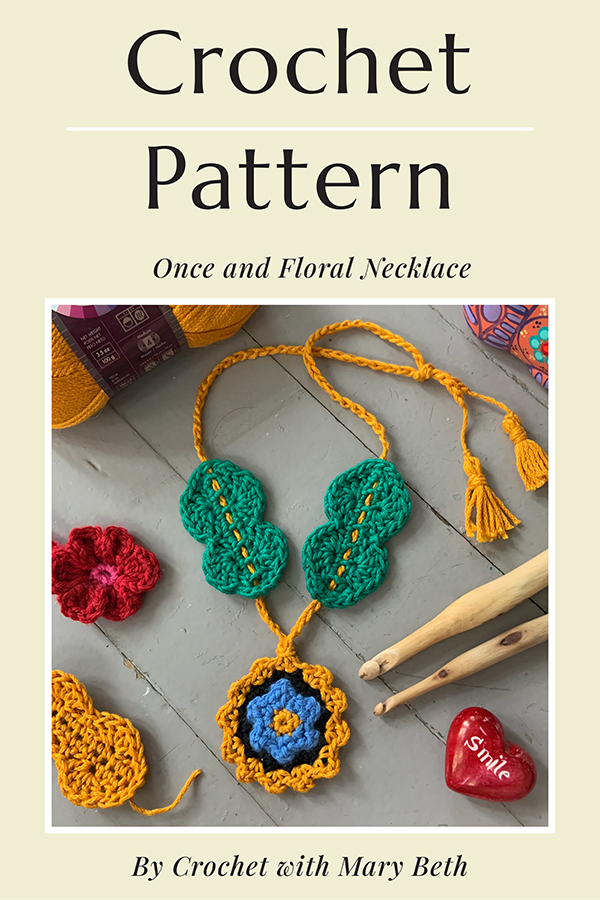 A beautiful unique crochet necklace you can keep for yourself and give as a gift.  It works up quickly and only requires 30 yarns of worsted weight yarn.