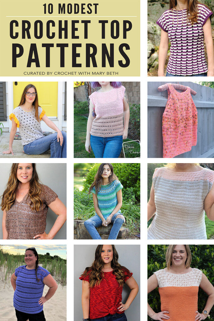 You have to see these 10 office appropriate crochet tee patterns. I searched high and low for modest unique tee patterns for women because I want to wear my makes out in my real life. These patterns are quality, easy to follow and available on Etsy or Raverly.