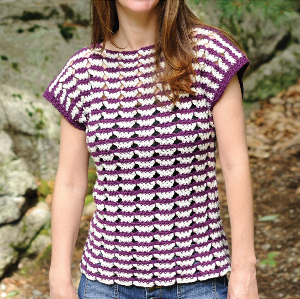Mary Beth Cryan of Crochet with Mary Beth models her Butterfly Stripe Tee, a perfect modest crochet pattern to make and wear to the office.  The tee is made with the butterfly stitch in two tones.