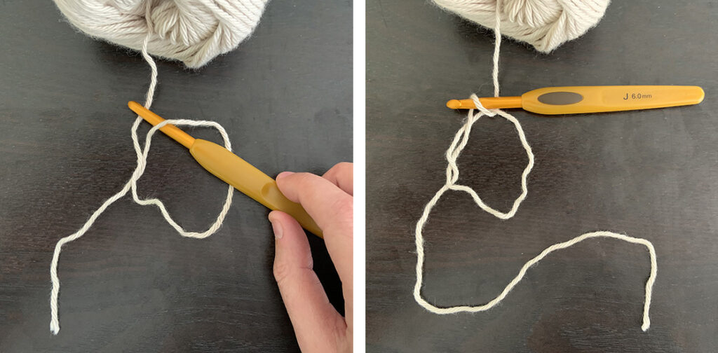 A crochet hook reaching through a yarn O and pulling up a loop to for a magic ring.